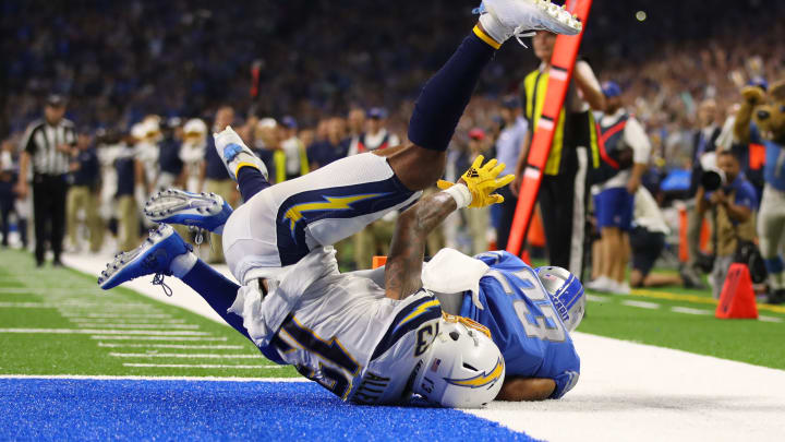 DETROIT, MICHIGAN – SEPTEMBER 15: Darius Slay #23 of the Detroit Lions intercepts a fourth quarter pass in front of Keenan Allen #13 of the Los Angeles Chargers at Ford Field on September 15, 2019 in Detroit, Michigan. (Photo by Gregory Shamus/Getty Images)