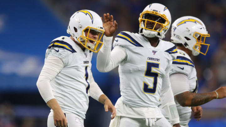 DETROIT, MICHIGAN - SEPTEMBER 15: Ty Long #1 of the Los Angeles Chargers reacts after missing a fourth quarter field goal while playing the Detroit Lions at Ford Field on September 15, 2019 in Detroit, Michigan. (Photo by Gregory Shamus/Getty Images)