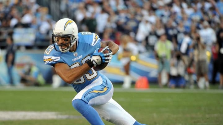 SAN DIEGO, CA - NOVEMBER 27: Vincent Jackson #83 of the San Diego Chargers turns up field after his catch against the Denver Broncos at Qualcomm Stadium on November 27, 2011 in San Diego, California. The Broncos went on to win 16-13. (Photo by Harry How/Getty Images)