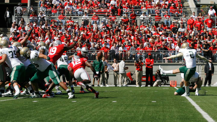 COLUMBUS, OH – SEPTEMBER 22: Ty Long #2 of the University of Alabama at Birmingham Blazers has an extra point attempt blocked by the Ohio State Buckeyes defense during the first quarter on September 22, 2012, at Ohio Stadium in Columbus, Ohio. (Photo by Kirk Irwin/Getty Images)