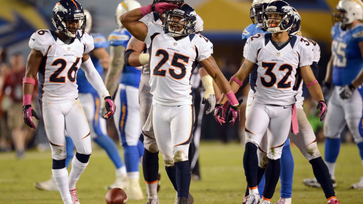 SAN DIEGO, CA – OCTOBER 15: Chris Harris #25 of the Denver Broncos celebrates his interception against the San Diego Chargers at Qualcomm Stadium on October 15, 2012, in San Diego, California. (Photo by Harry How/Getty Images)