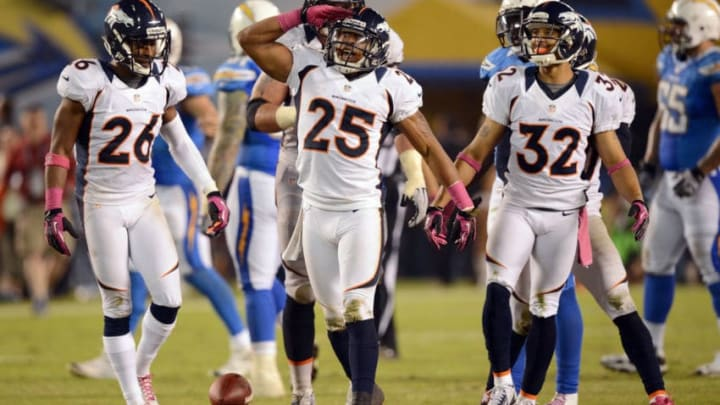 SAN DIEGO, CA - OCTOBER 15: Chris Harris #25 of the Denver Broncos celebrates his interception against the San Diego Chargers at Qualcomm Stadium on October 15, 2012 in San Diego, California. (Photo by Harry How/Getty Images)