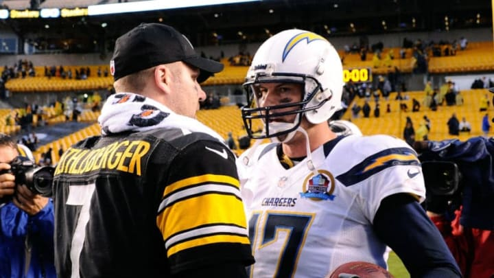 PITTSBURGH, PA - DECEMBER 09: Ben Roethlisberger #7 of the Pittsburgh Steelers congratulates Philip Rivers #17 of the San Diego Chargers after the game on December 9, 2012 at Heinz Field in Pittsburgh, Pennsylvania. San Diego won the game 34-24. (Photo by Joe Sargent/Getty Images)