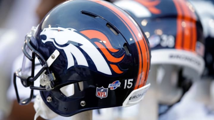 SAN FRANCISCO, CA - AUGUST 08: A Denver Broncos helmet on the sidelines during their preseason NFL game against the San Francisco 49ers at Candlestick Park on August 8, 2013 in San Francisco, California. (Photo by Ezra Shaw/Getty Images)