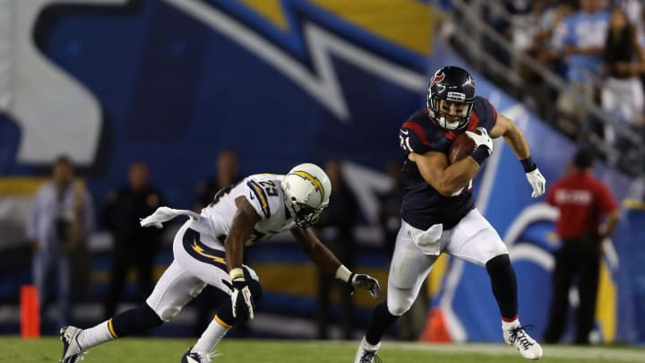 SAN DIEGO, CA – SEPTEMBER 09: Tight end Owen Daniels #81 of the Houston Texans is pursued by Shareece Wright #29 of the San Diego Chargers in the fourth quarter at Qualcomm Stadium on September 9, 2013 in San Diego, California. (Photo by Jeff Gross/Getty Images)