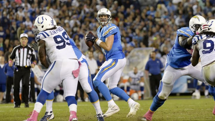 SAN DIEGO, CA – OCTOBER 14: Quarterback Philip Rivers #17 of the San Diego Chargers in action against the Indianapolis Colts at Qualcomm Stadium October 14, 2013, in San Diego, California. (Photo by Kevork Djansezian/Getty Images)