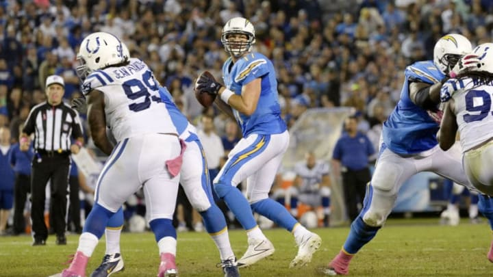 SAN DIEGO, CA - OCTOBER 14: Quarterback Philip Rivers #17 of the San Diego Chargers in action against the Indianapolis Colts at Qualcomm Stadium October 14, 2013 in San Diego, California. (Photo by Kevork Djansezian/Getty Images)