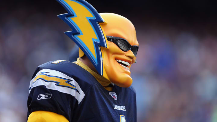 SAN DIEGO, CA – A fan, also known as Boltman, looks on at Qualcomm Stadium on December 8, 2013 in San Diego, California. (Photo by Jeff Gross/Getty Images)