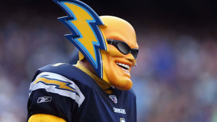 SAN DIEGO, CA - DECEMBER 08: A fan, also known as Boltman, looks on during the game against the New York Giants at Qualcomm Stadium on December 8, 2013 in San Diego, California. (Photo by Jeff Gross/Getty Images)