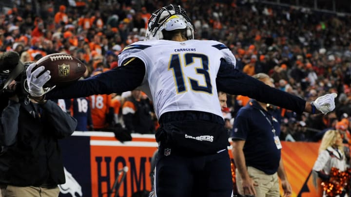 DENVER, CO – DECEMBER 12: Keenan Allen #13 of the San Diego Chargers celebrates after scoring a second quarter touchdown against the Denver Broncos at Sports Authority Field at Mile High on December 12, 2013 in Denver, Colorado. (Photo by Dustin Bradford/Getty Images)