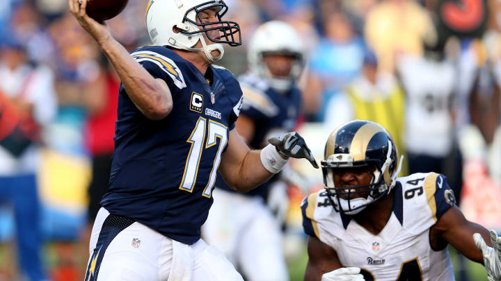 SAN DIEGO, CA – NOVEMBER 23: Quarterback Philip Rivers #17 of the San Diego Chargers throws a pass against the St. Louis Rams at Qualcomm Stadium on November 23, 2014 in San Diego, California. (Photo by Stephen Dunn/Getty Images)