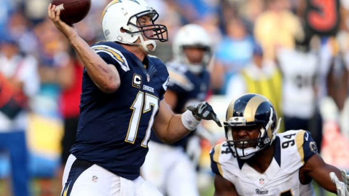 SAN DIEGO, CA - NOVEMBER 23: Quarterback Philip Rivers #17 of the San Diego Chargers throws a pass against the St. Louis Rams at Qualcomm Stadium on November 23, 2014 in San Diego, California. (Photo by Stephen Dunn/Getty Images)