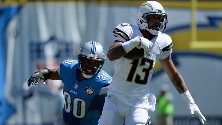 SAN DIEGO, CA – SEPTEMBER 13: Wide receiver Keenan Allen #13 of the San Diego Chargers is pursued by defensive back Josh Wilson #30 of the Detroit Lions at Qualcomm Stadium on September 13, 2015 in San Diego, California. (Photo by Donald Miralle/Getty Images)