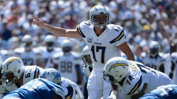 SAN DIEGO, CA - SEPTEMBER 13: Quarterback Philip Rivers #17 of the San Diego Chargers looks to pass against the Detroit Lions defense at Qualcomm Stadium on September 13, 2015 in San Diego, California. (Photo by Donald Miralle/Getty Images)