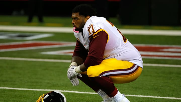 ATLANTA, GA – OCTOBER 11: Trent Williams #71 of the Washington Redskins reacts after Robert Alford #23 of the Atlanta Falcons returned an interception for a touchdown in their 25-19 loss at Georgia Dome on October 11, 2015 in Atlanta, Georgia. (Photo by Kevin C. Cox/Getty Images)