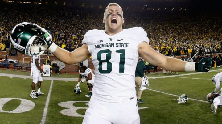ANN ARBOR, MI - OCTOBER 17: Tight end Matt Sokol #81 of the Michigan State Spartans celebrates after defeating the Michigan Wolverines 27-23 in the college football game at Michigan Stadium on October 17, 2015 in Ann Arbor, Michigan. (Photo by Christian Petersen/Getty Images)