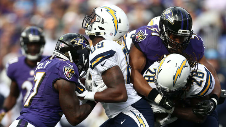 BALTIMORE, MD – NOVEMBER 1: Running back Melvin Gordon #28 of the San Diego Chargers is tackled by inside linebacker Daryl Smith #51 of the Baltimore Ravens while tight end Ladarius Green #89 of the San Diego Chargers blocks tackle De'Ondre Wesley #77 of the Baltimore Ravens in the first quarter of a game at M&T Bank Stadium on November 1, 2015 in Baltimore, Maryland. (Photo by Matt Hazlett/Getty Images)
