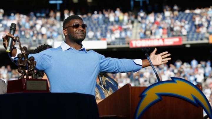 SAN DIEGO, CA - NOVEMBER 22: Former NFL Player LaDanian Tomlinson has his number retired by the San Diego Chargers during halftime at the game against the Kansas City Chiefs at Qualcomm Stadium on November 22, 2015 in San Diego, California. (Photo by Sean M. Haffey/Getty Images)