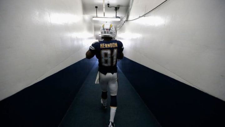 SAN DIEGO, CA - DECEMBER 20: Javontee Herndon #81 of the San Diego Chargers walks through a tunnel to enter the field prior to a game against the Miami Dolphins at Qualcomm Stadium on December 20, 2015 in San Diego, California. (Photo by Sean M. Haffey/Getty Images)