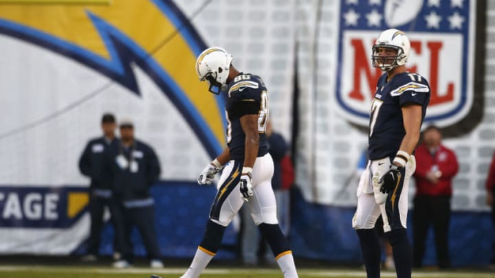 SAN DIEGO, CA - DECEMBER 20: (L-R) Malcom Floyd #80 of the San Diego Chargers and Philip Rivers #17 of the San Diego Chargers walk onto the field against the Miami Dolphins at Qualcomm Stadium on December 20, 2015 in San Diego, California. (Photo by Todd Warshaw/Getty Images)