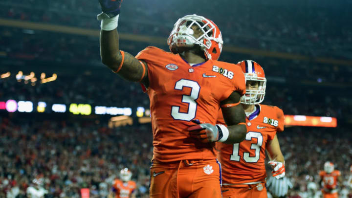 GLENDALE, AZ - JANUARY 11: Artavis Scott #3 of the Clemson Tigers celebrates after scoring a 15 yard touchdown pass in the fourth quarter against the Alabama Crimson Tide during the 2016 College Football Playoff National Championship Game at University of Phoenix Stadium on January 11, 2016 in Glendale, Arizona. (Photo by Harry How/Getty Images)