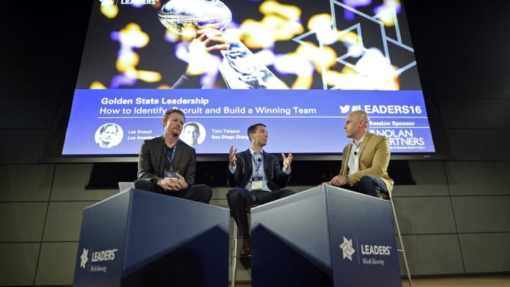 LOS ANGELES, CA – MARCH 5: Speakers Les Snead (L), general manager of NFL's Los Angeles Rams, Tom Telesco, general manager of NFL's San Diego Chargers, and moderator Steve Gera (R) attend Leaders Sports Performance Summit at Red Bull House on March 5, 2016, in Santa Monica, California. (Photo by Kevork Djansezian/Getty Images)