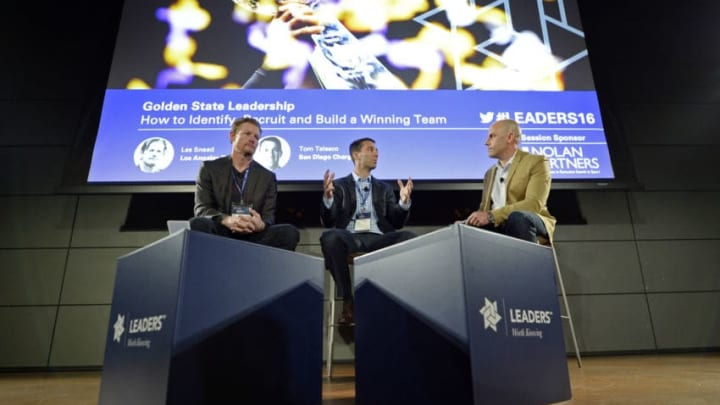 LOS ANGELES, CA - MARCH 5: Speakers Les Snead (L), general manager of NFL's Los Angeles Rams, Tom Telesco, general manger of NFlL's San Diego Chargers, and moderator Steve Gera (R) attend Leaders Sports Performance Summit at Red Bull House on March 5, 2016, in Santa Monica, California. (Photo by Kevork Djansezian/Getty Images)