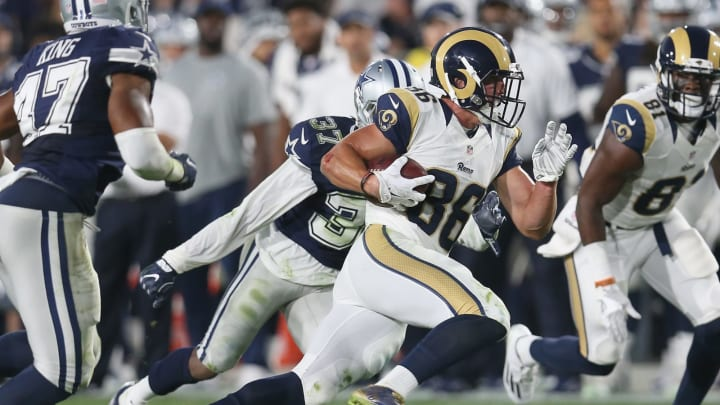 LOS ANGELES, CALIFORNIA – AUGUST 13: Wide receiver Nelson Spruce #86 of the Los Angeles Rams carries the ball against the Dallas Cowboys at the Los Angeles Coliseum during preseason on August 13, 2016 in Los Angeles, California. (Photo by Stephen Dunn/Getty Images)
