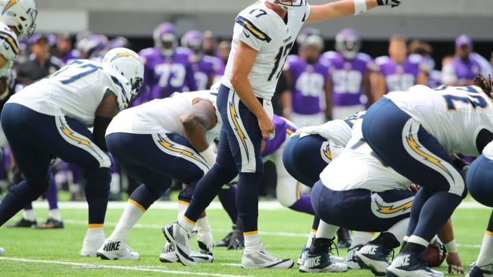 MINNEAPOLIS, MN – AUGUST 28: Philip Rivers #17 of the San Diego Chargers calls a play in the first quarter against the Minnesota Vikings at US Bank stadium on August 28, 2016 in Minneapolis, Minnesota. (Photo by Adam Bettcher/Getty Images)