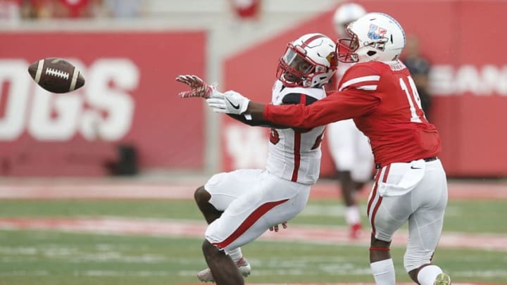 HOUSTON, TX - SEPTEMBER 10: Defensive back Rodney Randle #20 of the Lamar Cardinals breaks up a pass intended for wide receiver Isaiah Johnson #14 of the Houston Cougars in the second quarter at TDECU Stadium on September 10, 2016 in Houston, Texas. Houston won 42 to 0. (Photo by Thomas B. Shea/Getty Images)
