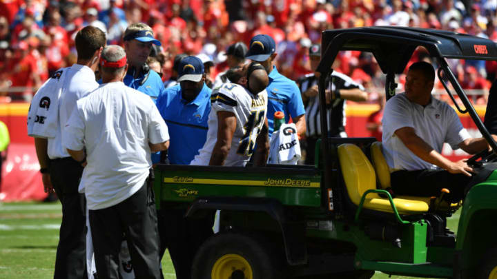KANSAS CITY, MO - SEPTEMBER 11: Wide receiver Keenan Allen #13 of the San Diego Chargers is loaded on to a cart after being injured on a play during the third quarter of the game agains the Kansas City Chiefs at Arrowhead Stadium on September 11, 2016 in Kansas City, Missouri. (Photo by Peter G Aiken/Getty Images)