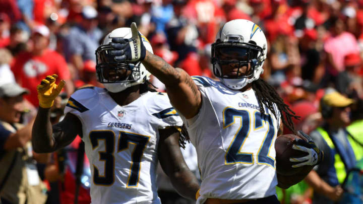 KANSAS CITY, MO - SEPTEMBER 11: Cornerback Jason Verrett #22 of the San Diego Chargers celebrates with teammate Jahleel Addae #37 after a second half interception against the Kansas City Chiefs at Arrowhead Stadium on September 11, 2016 in Kansas City, Missouri. (Photo by Peter G Aiken/Getty Images)