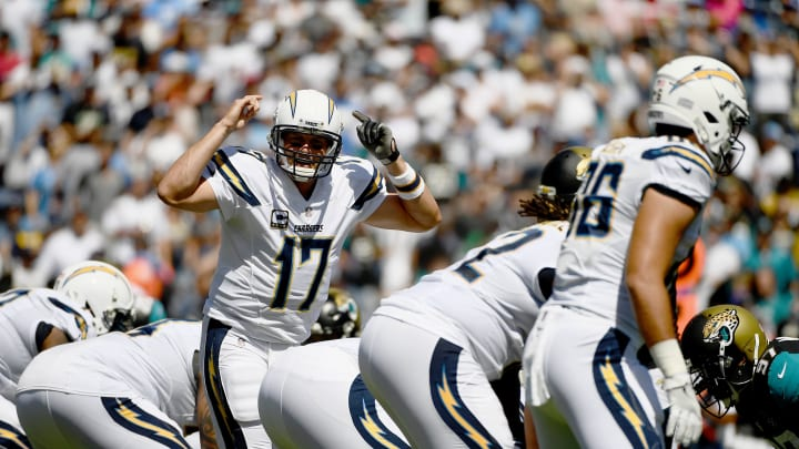 SAN DIEGO, CA – SEPTEMBER 18: Quarterback Philip Rivers #17 of the San Diego Chargers calls an audible at the line of scrimmage against the Jacksonville Jaguars during the first half of a game at Qualcomm Stadium on September 18, 2016 in San Diego, California. (Photo by Donald Miralle/Getty Images)