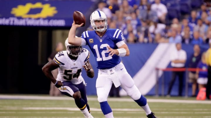 INDIANAPOLIS, IN - SEPTEMBER 25: Andrew Luck #12 of the Indianapolis Colts throws the ball during the second quarter of the game against the San Diego Chargers at Lucas Oil Stadium on September 25, 2016 in Indianapolis, Indiana. (Photo by Andy Lyons/Getty Images)
