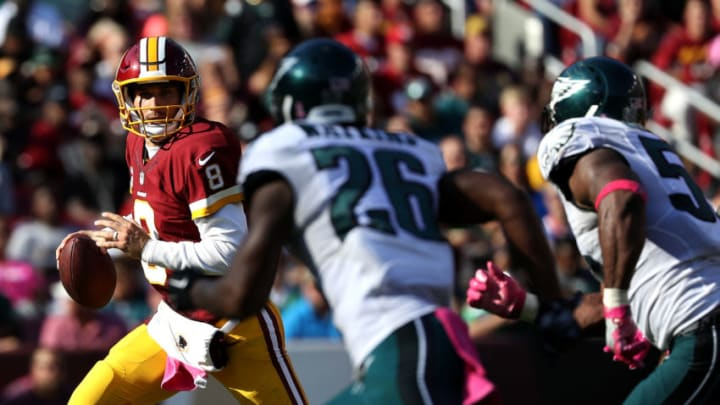 LANDOVER, MD - OCTOBER 16: Quarterback Kirk Cousins #8 of the Washington Redskins looks to pass the ball against defensive back Jaylen Watkins #26 of the Philadelphia Eagles in the third quarter at FedExField on October 16, 2016 in Landover, Maryland. (Photo by Patrick Smith/Getty Images)
