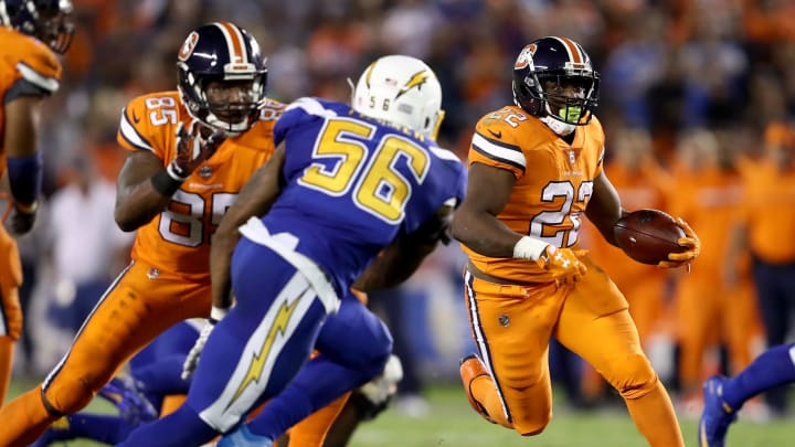 SAN DIEGO, CA – OCTOBER 13: Korey Toomer #56 of the San Diego Chargers chases C.J. Anderson #22 of the Denver Broncos during the first half of a game at Qualcomm Stadium on October 13, 2016 in San Diego, California. (Photo by Sean M. Haffey/Getty Images)