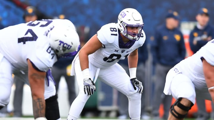 MORGANTOWN, WV – OCTOBER 22: Cole Hunt #81 of the TCU Horned Frogs in action during the game against the West Virginia Mountaineers at Mountaineer Field on October 22, 2016 in Morgantown, West Virginia. (Photo by Joe Sargent/Getty Images)