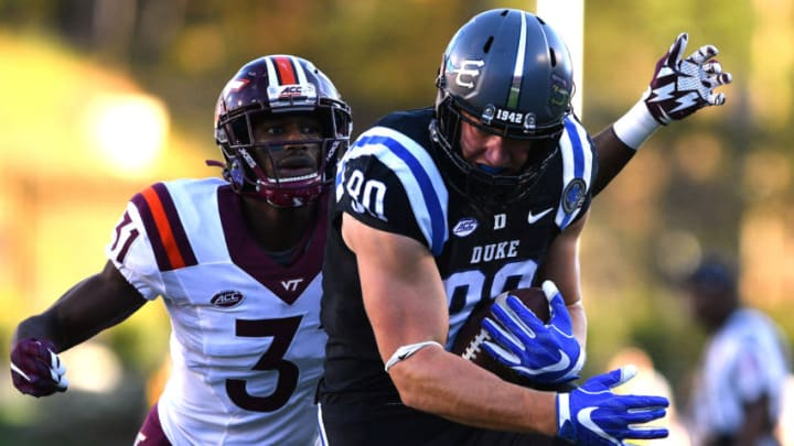 DURHAM, NC - NOVEMBER 05: Daniel Helm #80 of the Duke Blue Devils catches a pass against Brandon Facyson #31 of the Virginia Tech Hokies at Wallace Wade Stadium on November 5, 2016 in Durham, North Carolina. (Photo by Lance King/Getty Images)