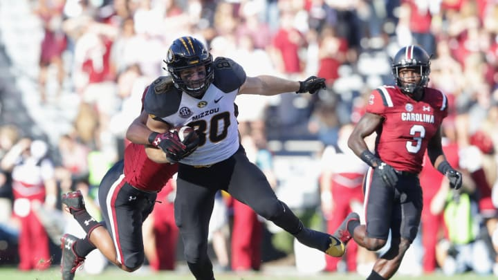 COLUMBIA, SC – NOVEMBER 05: Sean Culkin #80 of the Missouri Tigers runs with the ball against the South Carolina Gamecocks during their game at Williams-Brice Stadium on November 5, 2016 in Columbia, South Carolina. (Photo by Streeter Lecka/Getty Images)
