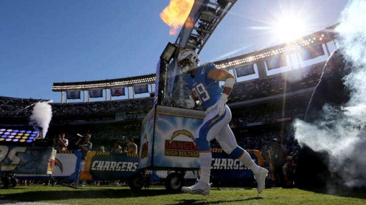 SAN DIEGO, CA - NOVEMBER 06: Joey Bosa #99 of the San Diego Chargers enters the field prior to a game between the San Diego Chargers and the Tennessee Titans at Qualcomm Stadium on November 6, 2016 in San Diego, California. (Photo by Sean M. Haffey/Getty Images)