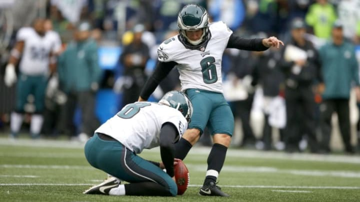 SEATTLE, WA - NOVEMBER 20: Kicker Caleb Sturgis #6 of the Philadelphia Eagles goes for an extra point against the Seattle Seahawks at CenturyLink Field on November 20, 2016 in Seattle, Washington. (Photo by Otto Greule Jr/Getty Images)