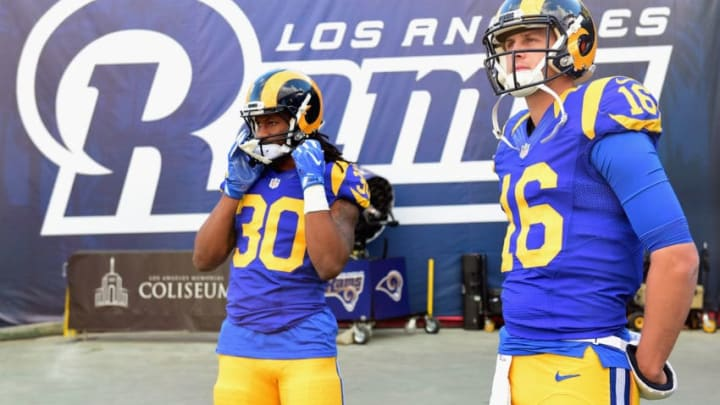 LOS ANGELES, CA - DECEMBER 24: Todd Gurley #30 and Jared Goff #16 of the Los Angeles Rams look on before the game against the San Francisco 49ers at Los Angeles Memorial Coliseum on December 24, 2016 in Los Angeles, California. (Photo by Harry How/Getty Images)