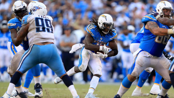 SAN DIEGO, CA – NOVEMBER 06: Melvin Gordon #28 of the San Diego Chargers runs with the ball during the second half of a game against the Tennessee Titans at Qualcomm Stadium on November 6, 2016 in San Diego, California. (Photo by Sean M. Haffey/Getty Images)