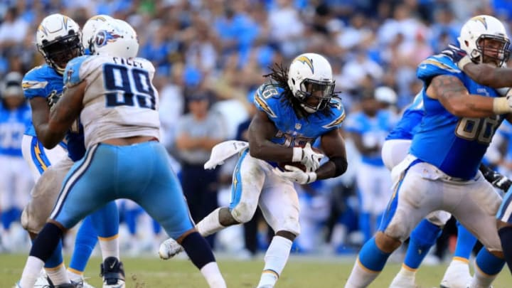 SAN DIEGO, CA - NOVEMBER 06: Melvin Gordon #28 of the San Diego Chargers runs with the ball during the second half of a game against the Tennessee Titans at Qualcomm Stadium on November 6, 2016 in San Diego, California. (Photo by Sean M. Haffey/Getty Images)
