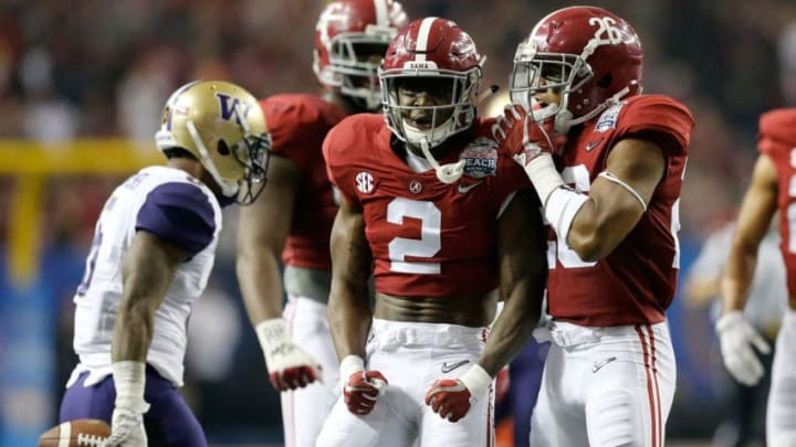 ATLANTA, GA - DECEMBER 31: Tony Brown #2 of the Alabama Crimson Tide reacts against the Washington Huskies during the 2016 Chick-fil-A Peach Bowl at the Georgia Dome on December 31, 2016 in Atlanta, Georgia. (Photo by Mike Zarrilli/Getty Images)