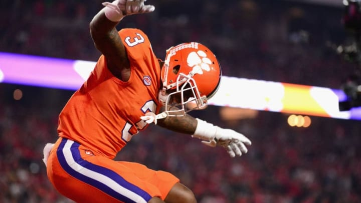 GLENDALE, AZ - DECEMBER 31: Artavis Scott #3 of the Clemson Tigers reacts during the first half of the 2016 PlayStation Fiesta Bowl against the Ohio State Buckeyes at University of Phoenix Stadium on December 31, 2016 in Glendale, Arizona. (Photo by Jennifer Stewart/Getty Images)