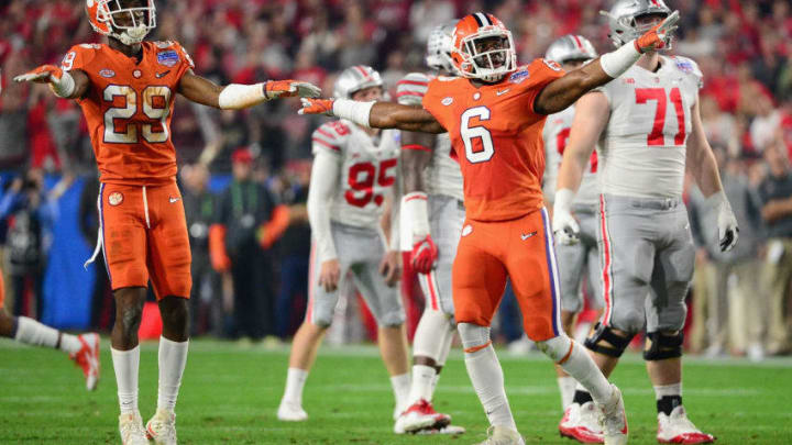 GLENDALE, AZ - DECEMBER 31: Dorian O'Daniel #6 of the Clemson Tigers and Marcus Edmond #29 react after a missed field goal by the Ohio State Buckeyes during the first half of the 2016 PlayStation Fiesta Bowl at University of Phoenix Stadium on December 31, 2016 in Glendale, Arizona. (Photo by Jennifer Stewart/Getty Images)