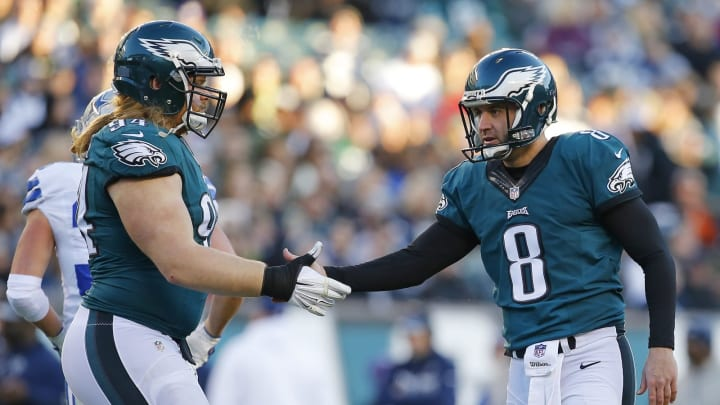 PHILADELPHIA, PA – JANUARY 01: Donnie Jones #8 of the Philadelphia Eagles is congratulated by Beau Allen #94 against the Dallas Cowboys during the fourth quarter of a game at Lincoln Financial Field on January 1, 2017 in Philadelphia, Pennsylvania. The Eagles defeated the Cowboys 27-13. (Photo by Rich Schultz/Getty Images)