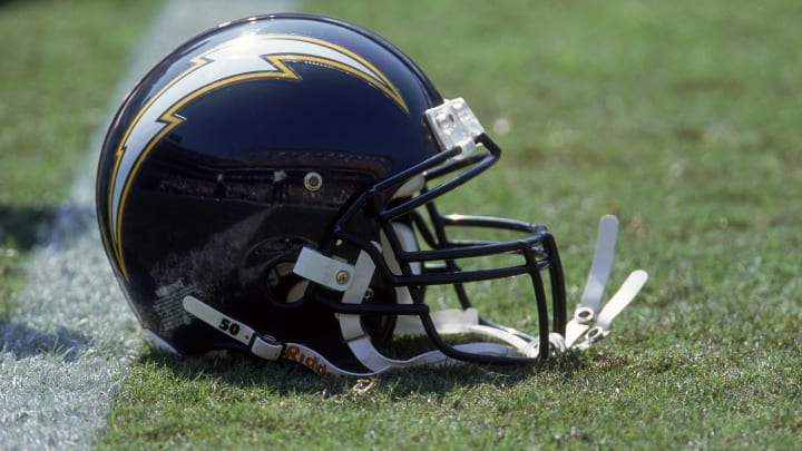 8 Oct 2000: A close up view of a helmet of the San Diego Chargers taken on the field during the game against the Denver Broncos at the Qualcomm Stadium in San Diego, California. The Broncos defeated the Chargers 21-7.Mandatory Credit: Stephen Dunn /Allsport