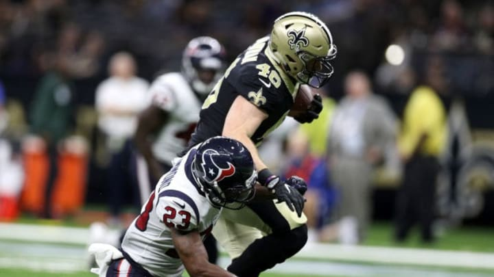 NEW ORLEANS, LA - AUGUST 26: Kurtis Drummond #23 of the Houston Texans tackles Braedon Bowman #46 of the New Orleans Saints at Mercedes-Benz Superdome on August 26, 2017 in New Orleans, Louisiana. (Photo by Chris Graythen/Getty Images)